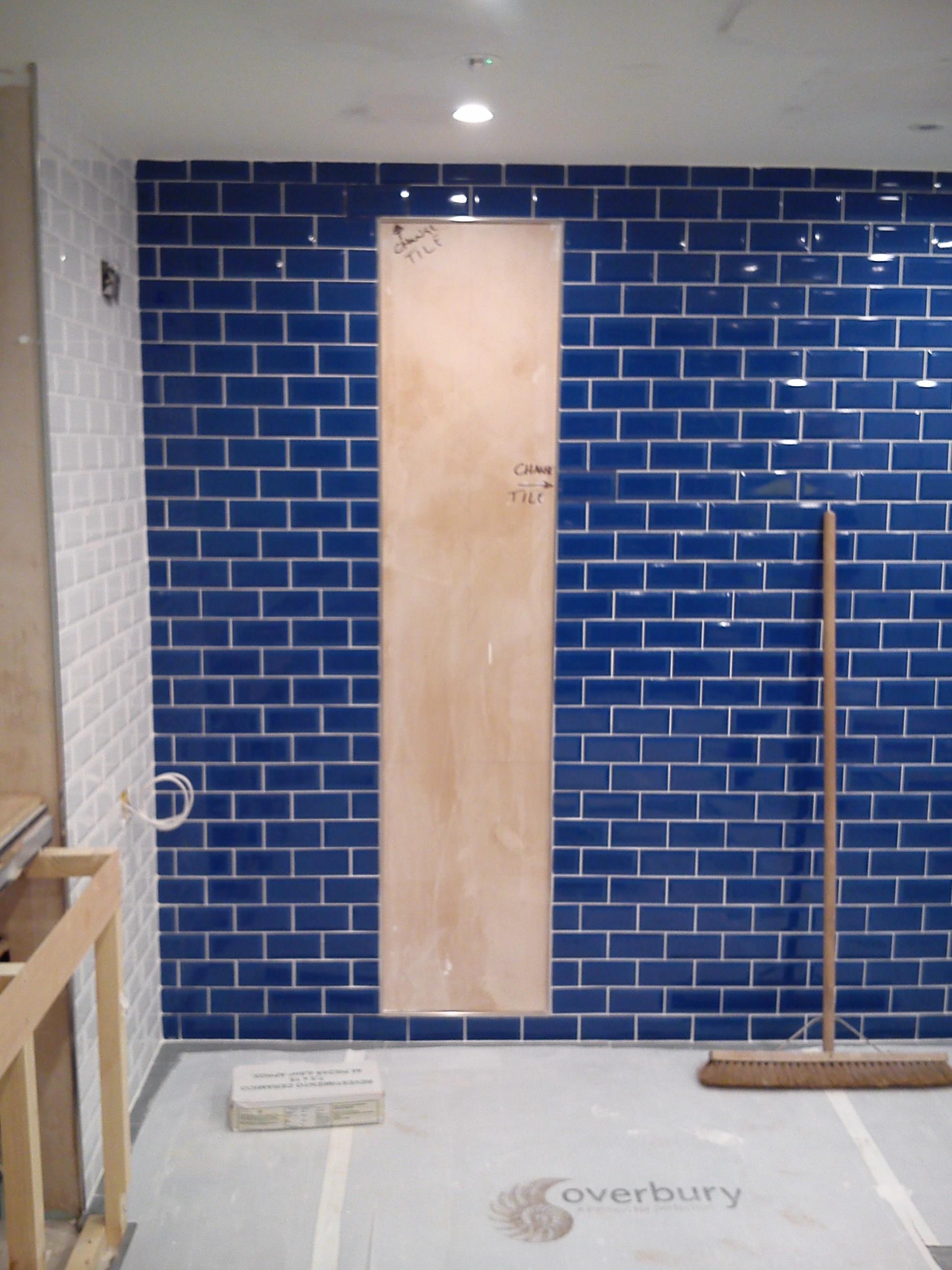 ABD CERAMICS BLUE METRO BRICK BOND TILING TILERS MIRROR BATHROOM ...